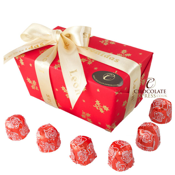 16 Dark Cherry Liquor Chocolates, Christmas Wrapping